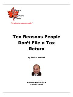 Ten Reasons People Don't File a Tax Return - PTC Canada