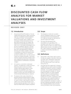 DISCOUNTED CASH FLOW ANALYSIS FOR …