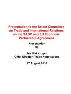 Presentation to the Select Committee on Trade and ...