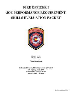 FIRE OFFICER I JOB PERFORMANCE REQUIREMENT SKILLS ...