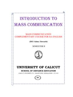 INTRODUCTION TO MASS COMMUNICATION - University …