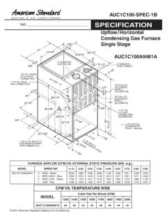 American Standard Specifications Upflow/Horizontal ...