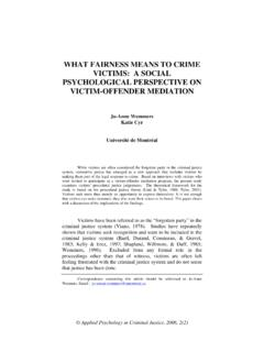 WHAT FAIRNESS MEANS TO CRIME VICTIMS: A SOCIAL ...