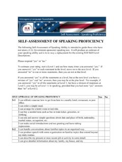 SELF-ASSESSMENT OF SPEAKING PROFICIENCY