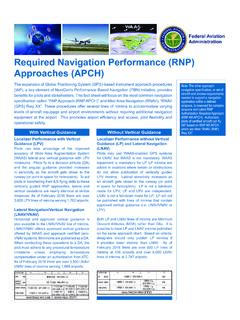 Required Navigation Performance (RNP) Approaches (APCH)