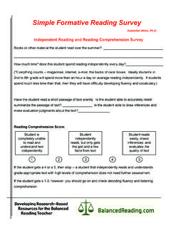 Simple Formative Reading Survey - Balanced Reading