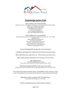 Concierge price List - Elite Home Watch of SWFL