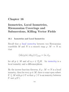 Chapter 16 Isometries, Local Isometries, Riemannian Coverings ...
