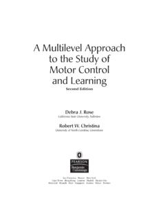 A Multilevel Approach to the Study of Motor Control and ...