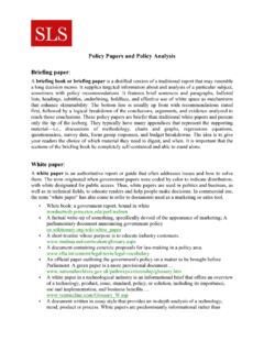 Policy Papers and Policy Analysis Briefing paper