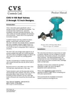 CVS V-100 Ball Valves 2 through 12 Inch Designs.