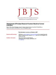 Management of Proximal Humeral Fractures Based on …
