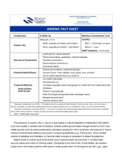 ARSENIC FACT SHEET - Water Quality Association