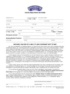 FHS Youth Registration Form - FieldHouse Sports
