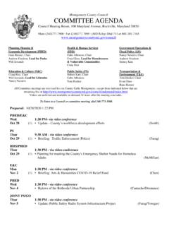 Current Committee Agenda - Montgomery County Maryland