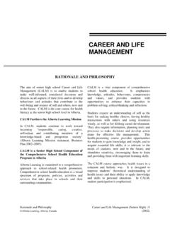 CAREER AND LIFE MANAGEMENT - Alberta Education