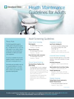Health Maintenance Guidelines for Adults - Cleveland Clinic