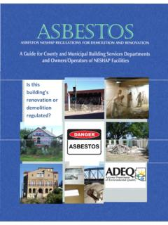 Asbestos NESHAP Regulations for demolition and …