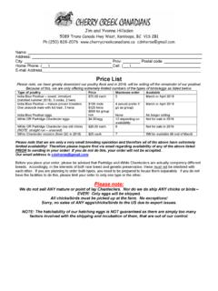 2017 POULTRY ORDER FORM - Cherry Creek Canadians