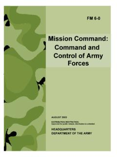 Mission Command: Command and Control of Army …