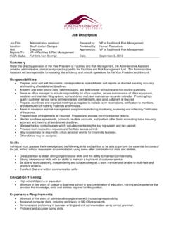 Job Description, Administrative Assistant