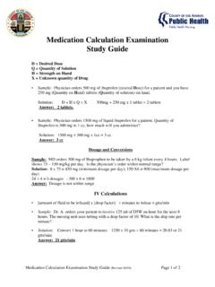 Medication Calculation Examination Study Guide