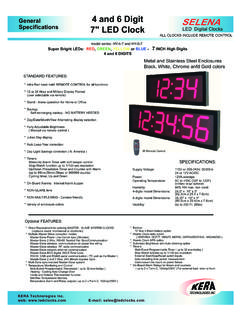 4 and 6 Digit A Specifications 7 LED Clock LED …