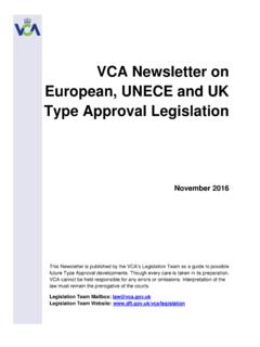 VCA Newsletter on European, UNECE and UK Type …