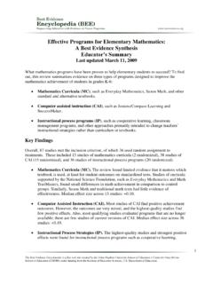 Effective Programs in Elementary Mathematics - Best Evidence