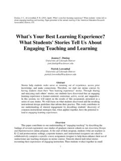What's Your Best Learning Experience? What …