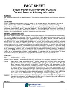 PennDOT Fact Sheet Secure Power of Attorney (MV-POA) …