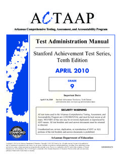 Test Administration Manual - State Board of Education
