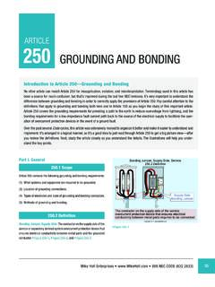 ARTICLE 250 GROUNDING AND BONDING - mikeholt.com