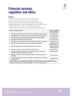 Financial services, regulation and ethics