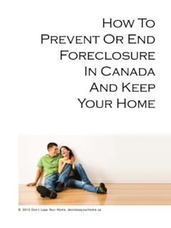 PREVENT OR STOP FORECLOSURE IN CANADA - Don't Lose …