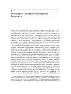 1 Introduction: Concepts of Poverty and Deprivation