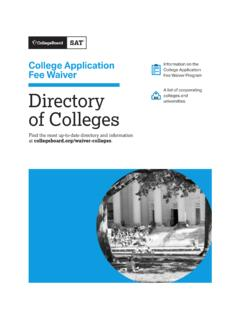 College Application Fee Waiver Directory of Colleges