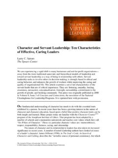 Character and Servant Leadership: Ten …