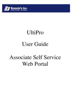 UltiPro User Guide Associate Self Service Web Portal