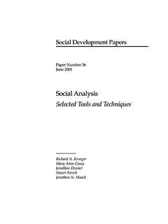 Social Analysis Selected Tools and Techniques - …
