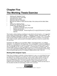 Chapter Five The Working Thesis Exercise