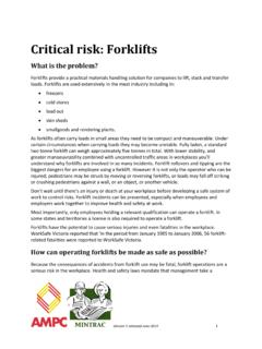 Critical risk: Forklifts - for meat industry supervisors