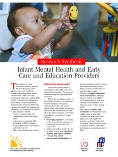 Research Synthesis Infant Mental Health and Early …