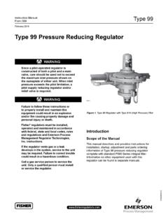 Manual: 99 Pressure Reducing Regulator