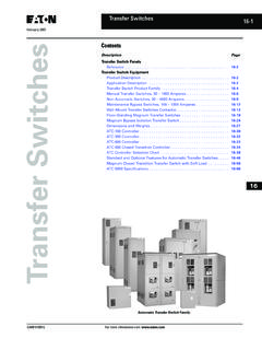Contents Transfer Switches - Emergency Systems Inc