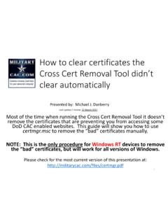 How to clear certificates the Cross Cert Removal …