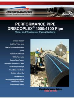 PERFORMANCE PIPE DRISCOPLEX 4000/4100 Pipe
