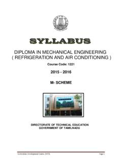 DIPLOMA IN MECHANICAL ENGINEERING ( REFRIGERATION …