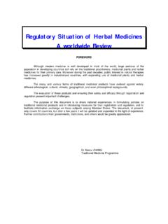 Regulatory Situation of Herbal Medicines A …