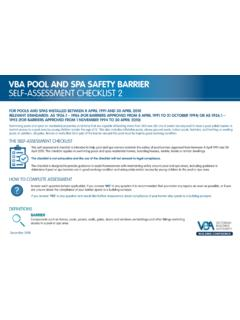 VBA POOL AND SPA SAFETY BARRIER SELF-ASSESSMENT …